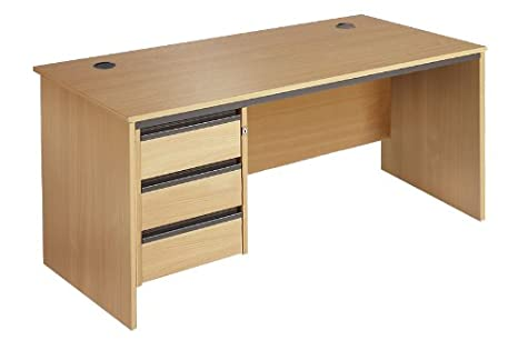 Minuet 1532 Straight Desk with Slab Leg Frame with 3 Drawer Fixed Pedestal - Oak