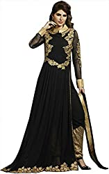 Shine Kreations Women's Georgette & Net Unstitched Salwar Suit (S-17, Black)