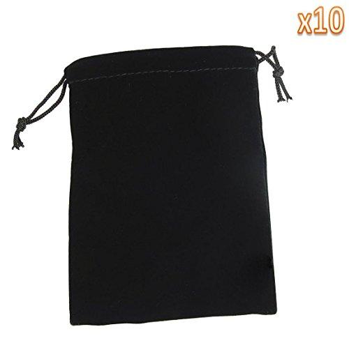 (10) Medium Velvet Black Pouches With Drawstrings - 1