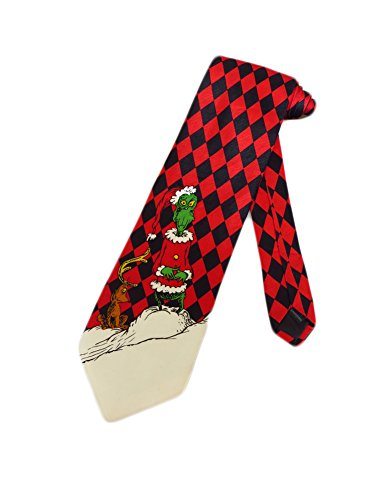 Dr Seuss Men's Grinch Who Stole Christmas Necktie - Red - One Size Neck Tie