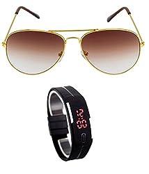 MagJons Blue Aviator Sunglasses With Digital Slim Watch