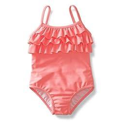 Carter\'s Baby Girls\' UPF +50 1-piece Ruffle Swimsuit Orange- 3t