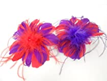 Red & Purple Feather Pom / Clip Or Pin / Red Hat Ladies Society