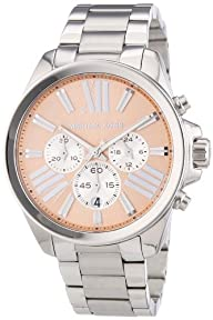 Michael Kors Wren Chronograph Rose Dial Stainless Steel Ladies Watch MK5837