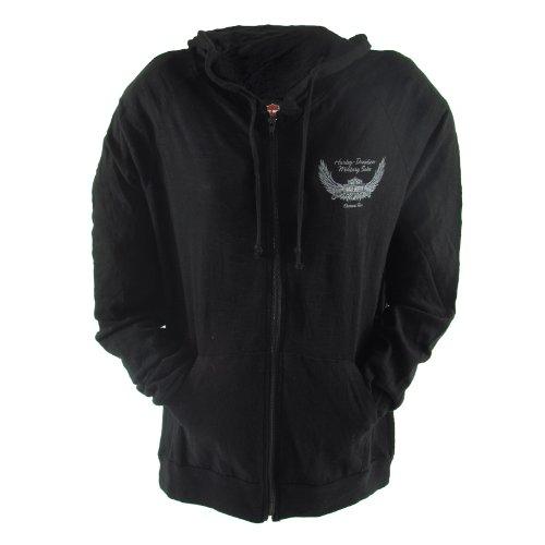 Harley-Davidson Overseas Tour Ambigram Wings Zip-Up Hoodie Womens, Large, Black
