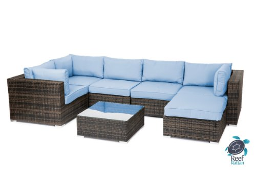 Reef Rattan London 7 Pc Sectional Sofa Set - Chocolate Rattan / Blue Cushions photo