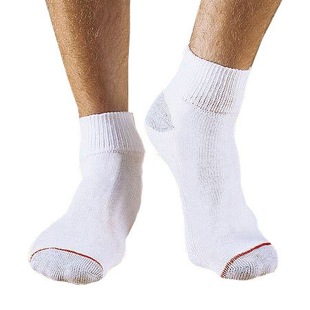 Hanes Full Cushion 6-Pack Ankle Socks with Grey Heel and Toe