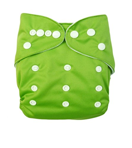 Baby Double Rrows Of Snaps Fitted Pocket Washable Adjustable Cloth Diaper Neutral Color, Spring Green front-707054
