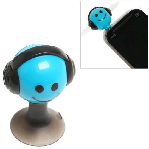 Blue Smiley Face Design 3.5Mm Headphone 2-Way Splitter Adapter And Suction Cup Stand For Portable Media Players / Smart Phones