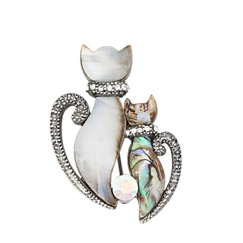 Abalone and Rhinestone Double Twin Cat Brooch