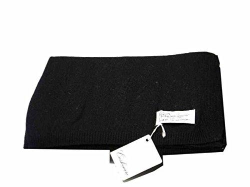 Avantgarde - Sciarpa pashmina uomo donna stola nera tinta unita offerta sciarpe in lana idea regalo, colore: nero