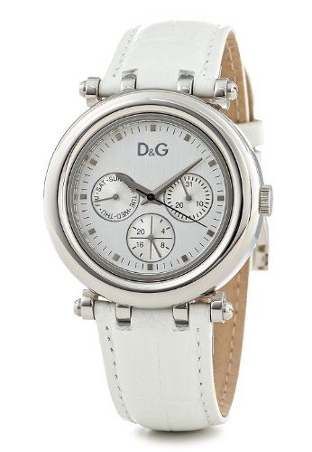 D & G Jesse J Ladies Quartz Watch DW0686 With Silver Multi Function Dial, Date,Stainless Steel Case And White Leather Strap