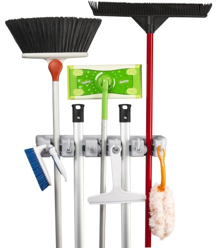 Spoga Wall Mounted Mop, Broom, and Sports Equipment Storage Organizer, 5-Positions with 6 Hooks