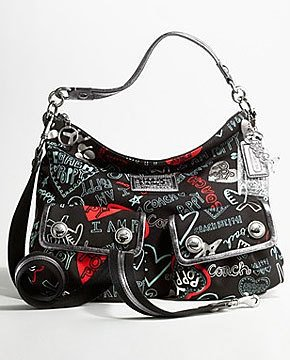 Coach Limited Edition Graffiti Hearts Multi Pockets Shoulder Bag