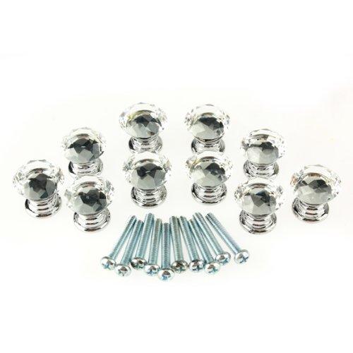 Vktech® 10Pcs Crystal Glass Cabinet Knob Drawer Pull Handle for Door Wardrobe (20mm Crystal)