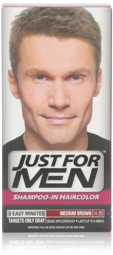 Just For Men Shampoo-In Hair Color, Medium Brown 35, 1 Application, (Pack Of 3) front-415306
