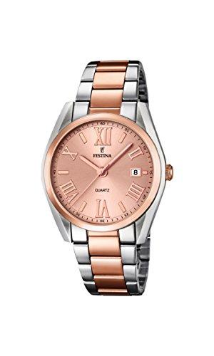 Festina Boyfriend - Reloj de cuarzo para mujer, correa de acero inoxidable color oro rosa