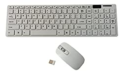 Storite Ultra Slim Wireless Keyboard & Mouse With Numeric Keypad 2.4 GHz With Silicone Keyboard Cover (White)