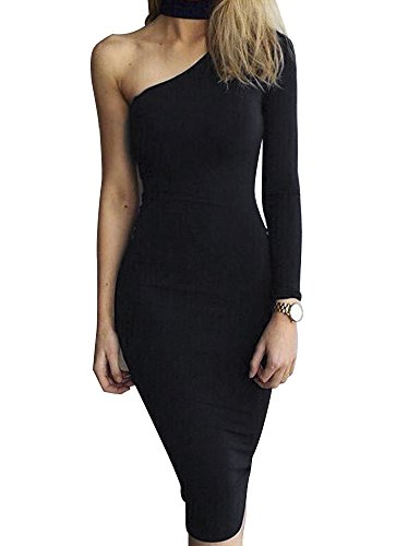 Allegrace Women Sexy One Shoulder Long Sleeve Bodycon Stretch Bandage Party Dress