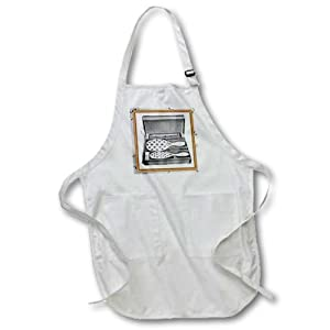 3dRose apr_38213_4 Brush and Comb Set with Gold Frame Full Length Apron with Pockets, 22 by 30-Inch, Black