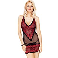 Mio Sexy Scarlet Passion Red and Black Chemise and Thong Set Small/Medium