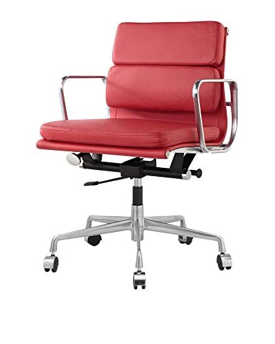Meelano Office Chair In Italian Leather, Red