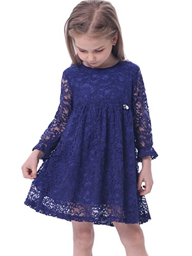 Bonny Billy Girl's A-Line Long Sleeve Blue Lace Kid Dress 4-5 Years Blue (Teenager Dress Form compare prices)
