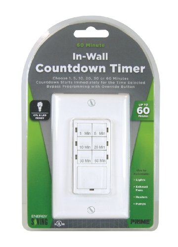Prime Wire & Cable Tndiw060 In-Wall 60 Minute Countdown Digital Timer