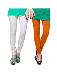 TSG Breeze Cotton Churidar Leggings- Pack Of 2-Off White & Medium Rust Colour (Free Size)