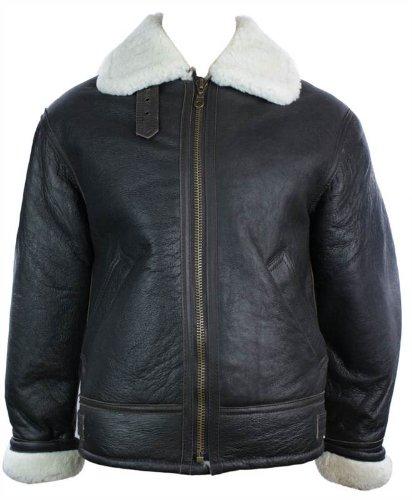 Mens Vintage Winter Real Sheepskin Leather Aviator Flying Jacket Brown & Cream