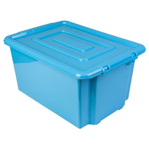New Whitefurze Plastic Stackable Blue Container Large Storage Box With Lid 52l