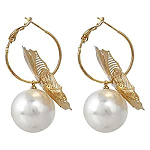 Awesome Flower Theme Fashionable Pearl Earrings By Lazreena