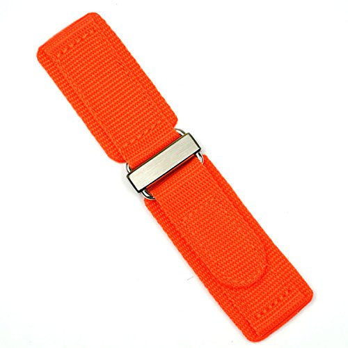 24mm Orange Double Layer Nylon Velcro Watch Band for Bell & Ross BR01 BR03 with Stainless Steel Buckle MEDIUM