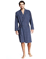 Pure Cotton Lightweight Multi-Striped Dressing Gown