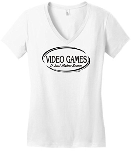 Video Games It Just Makes Sense Juniors V-Neck Small White