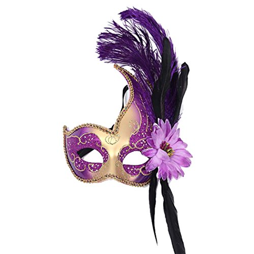 Venetian Masquerade Masks Mardi Gras Costume with Feather Flowers