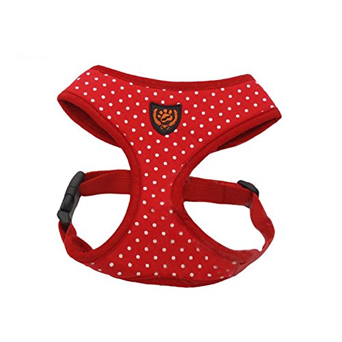 My Pet Fashion Soft Mesh Comfy Step in Dog Vest Harness for Minis,Toys,Puppies,Small Dog Breeds 9.9-13.3lbs,Red with Dots L (Diy Dog Harness compare prices)