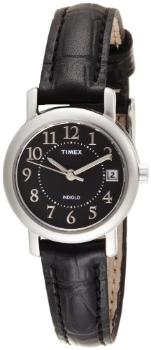 Timex Women's T2N335 Elevated Classics Dress Black Leather Strap Watch