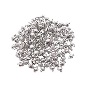 Christmas Jingle Bells Metal Charm Beads - Silver (100pc)