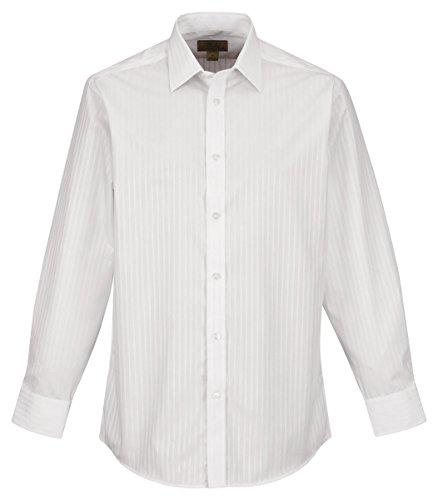 Tri-Mountain Mens 100% Cotton Y/D L/S Stripe Woven Shirt. - White/White - Xxx-Large