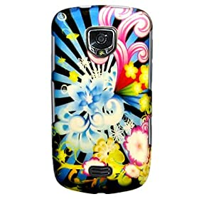 Hard Snap-on Plastic RUBBERIZED With NEON FLORAL Design Sleeve Faceplate Cover Case for SAMSUNG DROID CHARGE 4G LTE / i510 [WCA635]