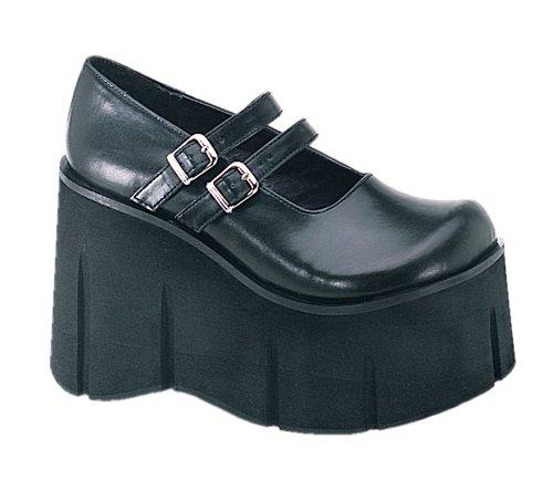 4 3/4 Trendy Goth Shoe Black Platform Shoe Platform Mary Jane DoubleStrap Black Size: 9