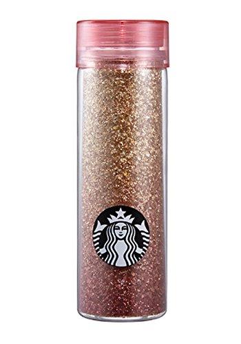 海外 Starbucks Chiristmas 2016 Bling bling double wall waterbottle 532ml スターバックス クリスマス キラキラ DWウォーターボトル ゴールドピンク *海外直配送*