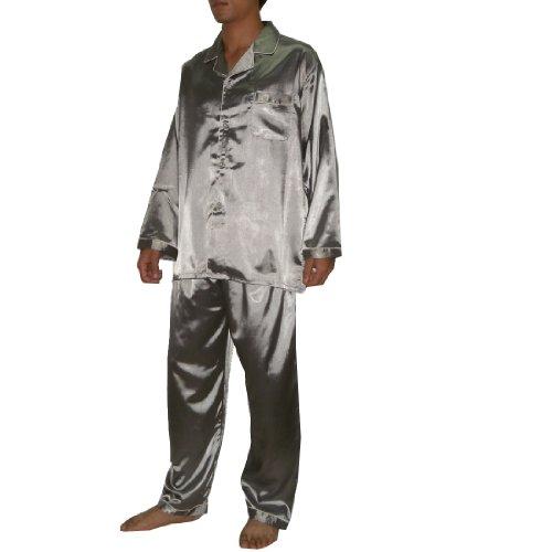 2PCS SET Silk Couture Mens Luxurious Silk Pajamas Set includes Top & Pants L Grey
