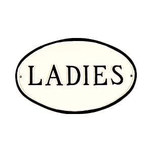 Montague Metal Products Ladies Restroom Plaque, 7.5 by 4.5-Inch, White/Black