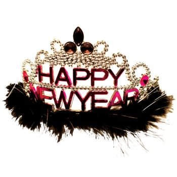 Happy New Year Jewel and Feather Tiara - New Year's Eve