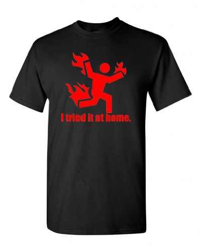 City Shirts I Tried It At Home Adult Black W/ Red T-Shirt Tee (Large, Black W/ Red)