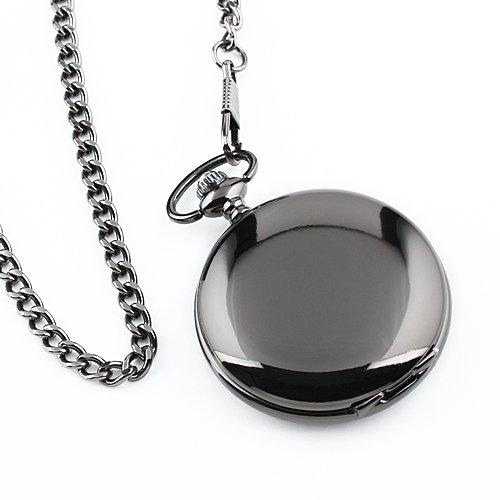 ESS Men's Black Smooth Stainless Steel Case White Arabic Numerals Modern Pocket Watch WP101