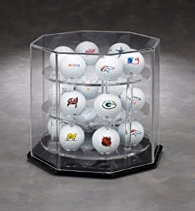 18 Golf Ball Octagon Display w Manual Spinner Base by NCaseIt