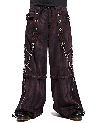 Tripp Gothic Techno Cyber Goth Rave Overdyed Black Red Mechanic Baggy Pants (XL)